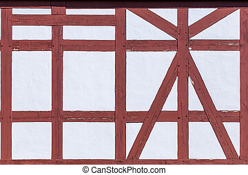 old vintage half timbered house wall - pattern of old...