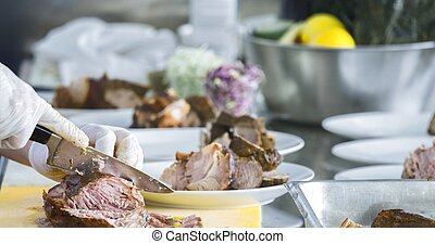 Preparing meat on the table