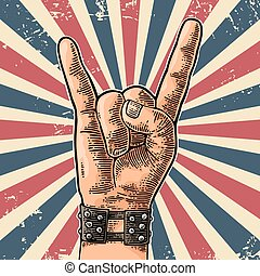 Rock and Roll hand sign. Hand drawn in a graphic style....
