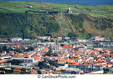 Praia da Vitoria from Serra do Cume - Long shot of Praia da...