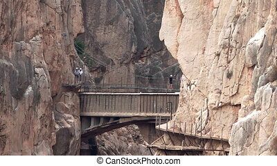 'El Caminito del Rey' zooming out from final bridge, route...