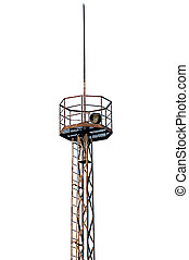 Grunge rusty industrial searchlight tower lighting pole,...