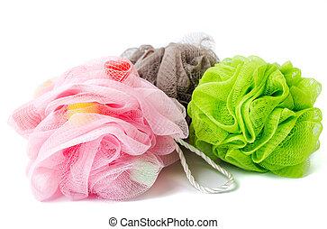 Peeling and massage sponge net on white background