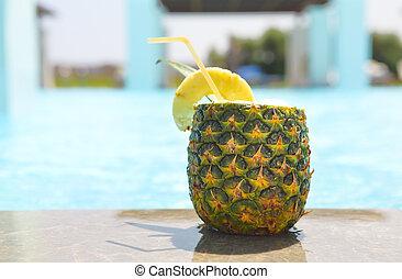 exótico, piscina, cóctel,  pina, piña,  colada