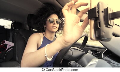 car accidents caused by cell phone use while driving - Woman...