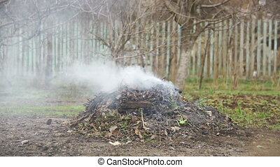 Burning Debris, Leaves, Small Trees and Weeds in the Garden...
