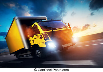 Commercial cargo delivery truck with trailer driving on...