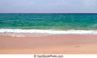 Pristine Tropical Beach with Deep Blue Horizon Line - Gentle...