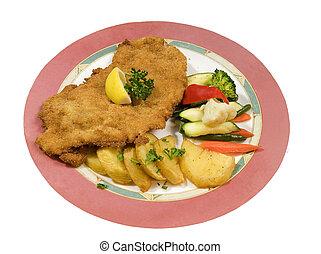 wiener schnitzel - delicious wiener schnitzel with potatoes...