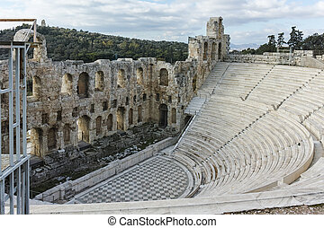 Odeon of Herodes Atticus in the Acropolis of Athens, Attica,...