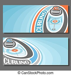 Vector banners for Curling game: granite stone sliding on...