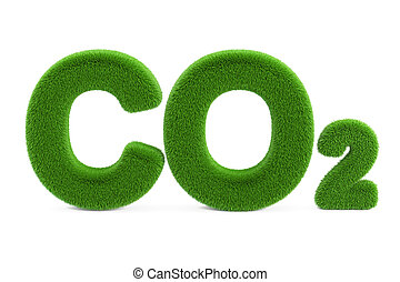 CO2 from grass inscription, 3D rendering isolated on white...