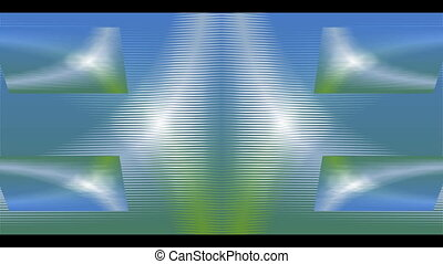 Abstract video background with rotating square shapes and color changing effect, main colors blue, orange and green
