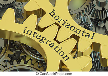 horizontal integration concept on the gearwheels, 3D...