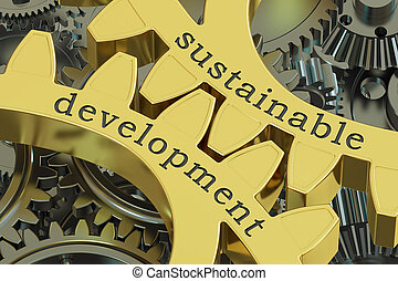 sustainable development, concept on the gearwheels, 3D...