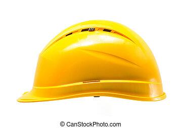 costruzione, duro, cappello, isolato, bianco