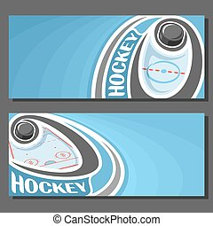 Vector banners for Ice Hockey game: hockey puck on curve...