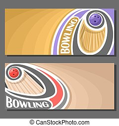 Vector banners for Bowling game: thrown bowling ball on...