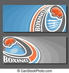 Vector banners for Boxing: 2 template tickets to sports...