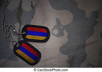 army blank, dog tag with flag of armenia on the khaki...