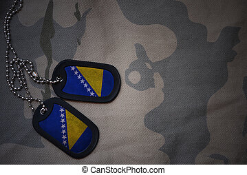 army blank, dog tag with flag of bosnia and herzegovina on...