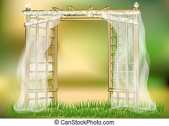 wedding garden. abstract decoration arch on greeen...