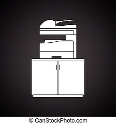 Copying machine icon. Black background with white. Vector...