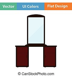 Dresser with mirror icon. Flat design. Vector illustration.