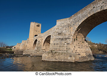 Medieval bridge over Ebro river in the ancient city of...