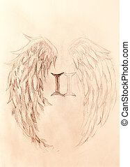 pencil drawing on old paper. angel wings and rome number, Sepia color.