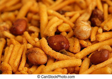 Bombay mix - Close-up of indian bombay mix snack