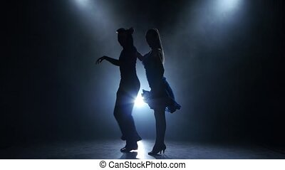 Professional couple of ballroom dancers posing in smoky...