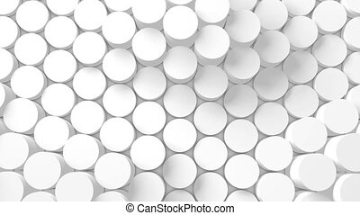 Structure of cylinders displacing like waves. 3D Rendering -...