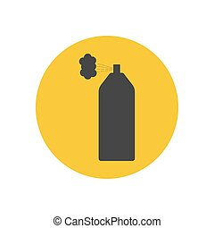 Spray paint can silhouette on the yellow background. Vector...