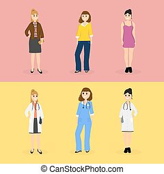 Women are young doctors and these same women in everyday...