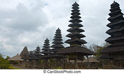 Long Row of Pagodas at Taman Ayun Temple in Bali, Indonesia...