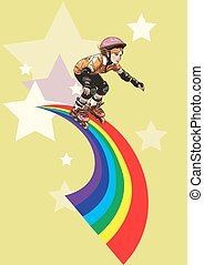 Roller-girl rushes along the rainbow - A roller-girl rushes...