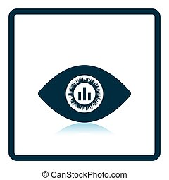 Eye with market chart inside pupil icon. Shadow reflection...