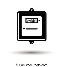 Electric meter icon. White background with shadow design....