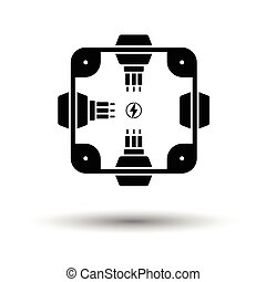 Electrical junction box icon. White background with shadow...
