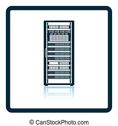 Server rack icon. Shadow reflection design. Vector...