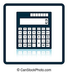 Statistical calculator icon. Shadow reflection design....