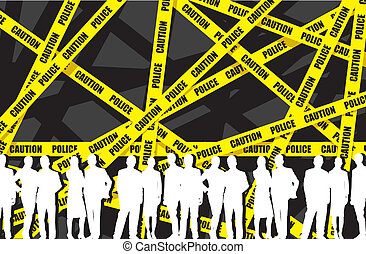 police tape - people on a police tape