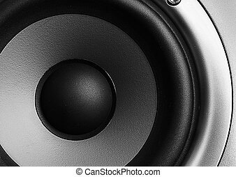 Stereo woofer macro - Closeup of a home theater stereo...