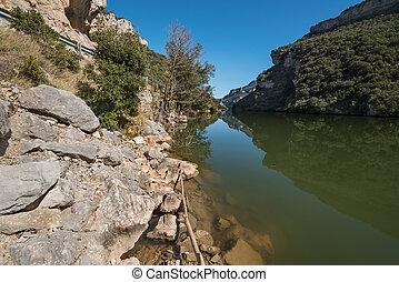 Landscape of Ebro river in El Sobron canyon, north Burgos...