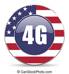 4g usa design web american round internet icon with shadow...