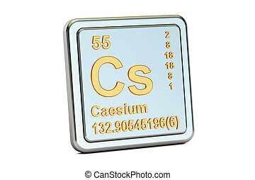 Caesium Cs, chemical element sign. 3D rendering isolated on...