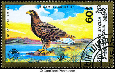 MONGOLIA - CIRCA 1988 Eagle facing left - MONGOLIA - CIRCA...