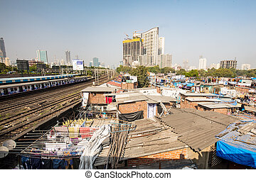 Dhobi Ghat in Mumbai - The famous laundry area of Dhobi Ghat...