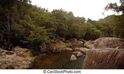 River Water Flows over Boulders in Vietnam, with Sound -...